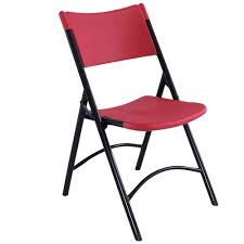 Molded Plastic Outdoor Chairs by National Public Seating 640 Black Metal Folding Chair With Red