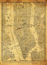Manhattan Street Map 1944 New York City Manhattan Street Map Vintage 11x14 Sepia Grunge