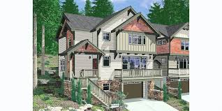 sloping house plans hillside house designs craftsman house plan for sloping lots has