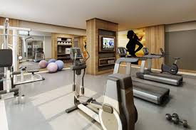 contemporary home gym with mural u0026 concrete floors zillow digs