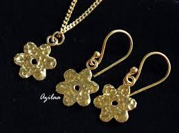 gold sterling silver necklace images Designer sterling silver gold plated flower pendant earrings set jpg
