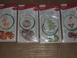 lot of 4 cross stitch ornament kits santa reindeer tree