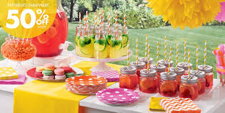 Candy Themed Party Decorations Dots U0026 Chevron Lemonade Stand Party Supplies Party City