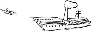 Coloriage  Avion à réaction qui atterrit sur un porteavions