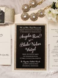 angela blake u0027s black and gold glitter wedding invitation suite