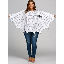 plus size white blouses spider web printed plus size poncho blouse in white one