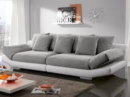 canap 4 places 4 places en tissu et simili instinct bicolore blanc gris ou