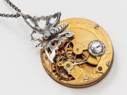 swarovski crystal stone necklace images Steampunk necklace engraved gold pocket watch movement with gears jpg