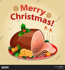 ham thanksgiving dinner christmas dinner traditional christmas food christmas ham vector
