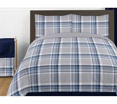 Plaid Bed Sets Navy Blue And Grey Plaid 4pc Boys Bedding Set Collection