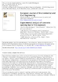 experimental analysis of concrete spalling due to fire exposure