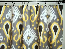 Yellow And Grey Window Curtains Interior White Based Curtain With Gray And Yellow Handprinting