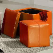 Vinyl Orange Ottoman Homelegance Ladd Storage Cube Ottoman In Orange 4723rn Orange