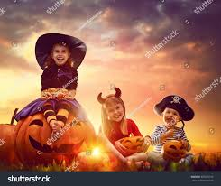 halloween kids background happy brother two sisters on halloween stock photo 483055144