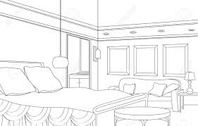 editable illustration of an outline sketch of a interior graphical