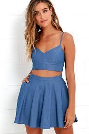 cute blue dress two piece dress chambray dress 54 00