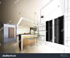 Kitchen Design Sketch Abstract Sketch Design Interior Kitchen Stock Illustration