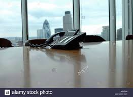 Office Table Back View Telephone Sitting On An Office Table View Of The City Of London