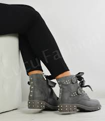 womens ankle biker boots new womens ladies ankle biker boots lace up bow zip buckle stud