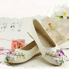 Comfortable Heels For Plus Size New Women Flower Flats Slip On Cotton Fabric Casual Shoes