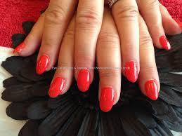 acrylic nails with red gelish gel polish nail swag pinterest