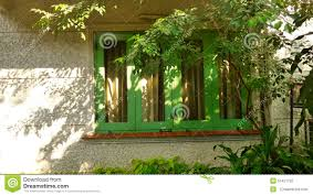 green window and tree shade in the garden stock photo image of