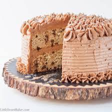 banana chocolate chip cake with milk chocolate buttercream