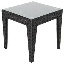 Outdoor Patio End Tables 20quot Round Patio End Table With Glass Top Transitional Outdoor