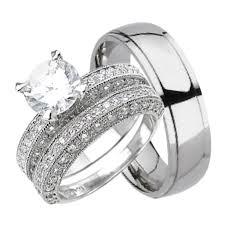 wedding trio sets matching titanium his sterling silver hers trio wedding ring set