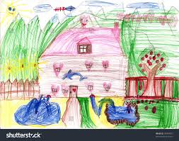 real draw home dreamland childrens house stock photo 30394015