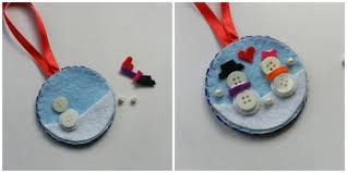 tree ornament button snowman easy craft ideas