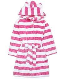 girls fleece hooded dressing gown pink waffle stripe design robe 7