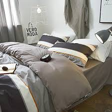 comfortable bedding soft grey bedding duvet cover set queen with stripes printed