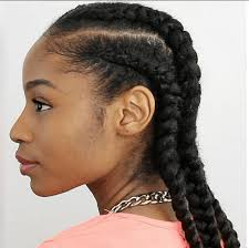 picture of corn rolls 4 cornrows on natural hair with extensions