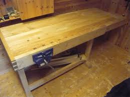Work Bench With Vice Furniture U0026 Accessories Wood Materials Of Workbench Top Design