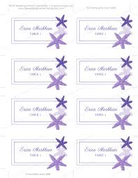beach flat place card template purple starfish printable