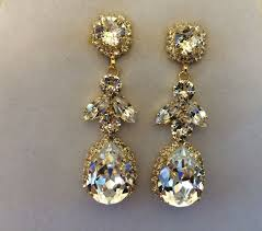 bridal chandelier earrings swarovski embellished teardrop dangle earrings the