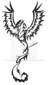 phoenix tribal with wings spread tattoo design photo 2 2017