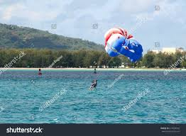 Cnmi Flag Parasailing Over Saipan Waters Parasailing One Marine Stock Photo