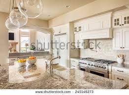 new kitchen furniture beautiful new kitchen interior island sink stock photo 245146273
