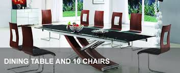 10 chair dining table set glass dining table and 10 chairs modenza furniture