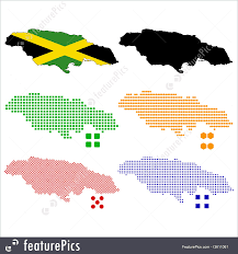 Jamaica Map Illustration Of Jamaica Map Flag