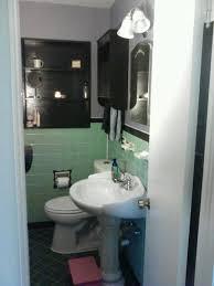 mint green tiled bathroom painted tile elegant vintage remodel