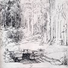 forest glade forest glade with a walled fountain by which two men are sitting
