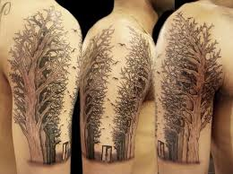 colored tree on half sleeve