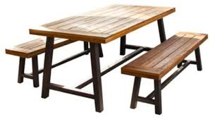 wood picnic table outdoor acacia lawn furniture set rustic dining