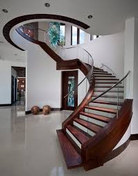 two tone stairs staircase contemporary with large entry light wood