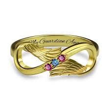 s day birthstone rings angel wings infinity birthstone ring free engravings