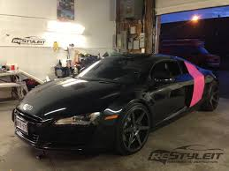 wrapped r8 audi r8 side blades matte pink wrap vehicle customization shop
