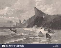 pitcairn island pacific ocean antique print 1888 stock photo